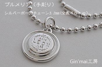 LEONちゃん♪プルメリア迷子札&シルバーボールチェーン3.2mm(全長40cm)